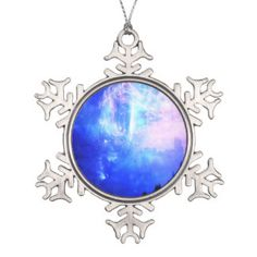 Starry Night Snowflake Pewter Christmas Ornament