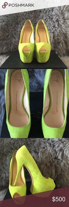 Giuseppe Zanotti Platform Heels Lightly worn chartreuse peep toe high heel Giuseppe Zanotti Shoes Heels