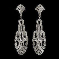 Bridal Wedding Swarovski Crystal Diamante ART Deco Drop Earrings | eBay