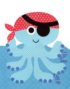 Pulpo pirata                                                                                                                                                     Más                                                                                                                                                                                 Más Pirate Nursery, Nautical Nursery, Baby Nursery Decor, Baby Decor, Nursery Signs, Nursery Room, Girl Nursery, Applique Templates, Applique Patterns