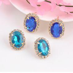 New OL Style Simple Rhinestone Crystal Stud Earrings For Women Fashion Jewelry