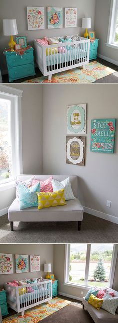 Grey Walls Turqoise Shelves « Spearmint Baby. Love the signs!