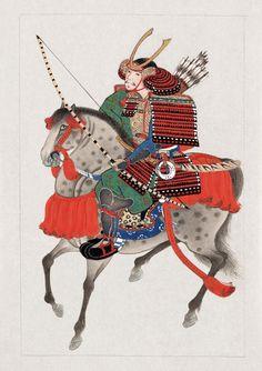 "Library of Congress ukiyo-e of a samurai on horseback. Original caption: ""Samurai on horseback, wearing armor and horned helmet, carrying bow and arrows. Katana, Geisha, Samourai Tattoo, Mounted Archery, Japanese Warrior, Art Asiatique, Motifs Animal, Samurai Armor, Art Japonais"