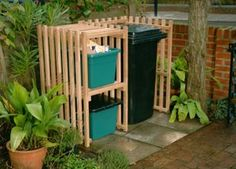sexy garbage/recycling bin storage:
