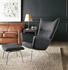 Black, grey & neutrals - Wegner Wing chair. #rug #black #walls
