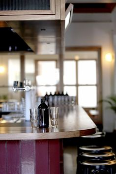 Recycled Messmate timber bar top, standing tables and floating tables at the Victoria Hotel in Footscray, Melbourne. Design: Projects of Imagination. Build: Ficus Constructions. Timber: Timber Revival.
