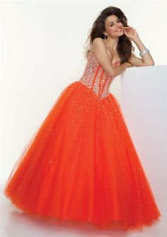 A-Line Princess Sweetheart Floor-Length Orange Tulle Prom Dress With Beading 2a37dc2e0671