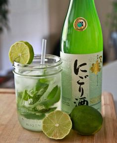 Sake Champagne Mojito:   1 bottle Sake  1 bottle Extra Dry Champagne  1 large bunch mint leaves  juice of 3-4 limes  6-10 droppers full of Liquid Stevia