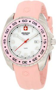 Swiss Military Calibre Women's Sealander Pink Mother-of-Pearl Rotating Bezel Rubber Watch Pink Watch, Rubber Watches, Rolex Watches, Wrist Watches, Swiss Army, New Model, Military, Pearls, Band