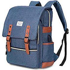 835fcdd08269 Modoker Vintage Laptop Backpack With USB Charging Port Lightweight School  College Bag Rucksack Fits Notebook