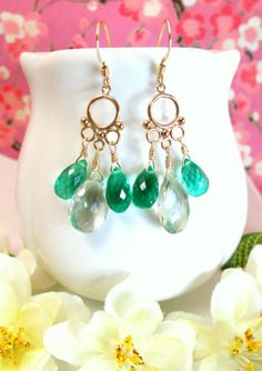 Green amethyst emerald green quartz gold filled by KBlossoms, $85.00