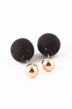 Kind of want to try this trend! Gold & Black Double-Sided Earrings