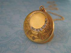 Antique Locket Edwardian Locket Fancy Round with Initial N by SweetheartLane