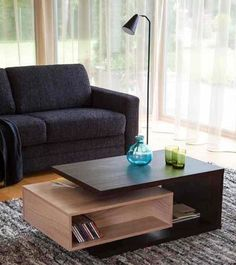 Coffee table with small book shelf. Tv Unit Furniture, Diy Pallet Furniture, Small Furniture, Table Furniture, Furniture Design, Centre Table Living Room, Living Room Tv, Center Table, Centre Table Design
