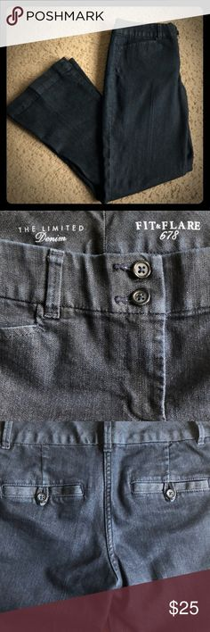 """The Limited Denim Fit & Flare 678 Jeans - 6 Short Great condition - I bought these for work but flare jeans are not really my thing. This was either worn once or twice. They are a dark denim. I'm 5' 2"""" and could wear these with flats. Approximately 29"""" inseam. The Limited Jeans Flare & Wide Leg"""