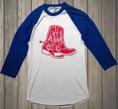 RED NEX (Premium Baseball Raglan) - What better way to declare you are a Country Gal or Guy than by wearing this RED NEX shirt.  The red boots are inspired by the fan favorite home team here in Boston and are a perfect compliment if you are riding to the ballpark in your pickup.