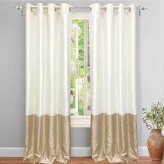 Shop for DriftAway Madelynn Solid Color Block Room Darkening Grommet Curtain Panel Pair. Get free delivery On EVERYTHING* Overstock - Your Online Home Decor Outlet Store! Grey And Cream Curtains, Ivory Curtains, Purple Curtains, Elegant Curtains, Kids Curtains, Cool Curtains, Grommet Curtains, Window Curtains, Window Panels