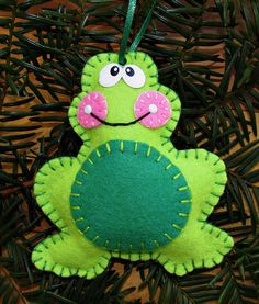 Wool Felt Frog Ornament Hanger In Lime & Kelly by FHGoldDesigns