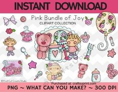 Pink Bundle of Joy Clipart Collection  Commercial Use by Christy Townzen These images are perfect for all your paper craft scrapbooking and planner sticker needs. Created at 300 dpi for excellent print quality each image comes in PNG format with a transparent background.To sell printable templates andor printed items at craft & vendor shows on personal websites andor multi-vendor websites sites