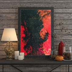 For sale: Acrylic original painting VOLCANO, beautiful home decor