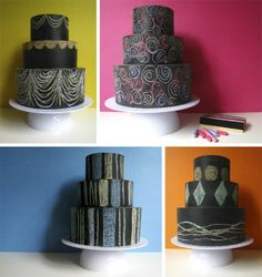Cake Chalkboard :: made from hat boxes.  hmm, i need to make a cake bozo (dummy). now all i need to figure out is how to make it waterproof!  i may just resort to cake pans!