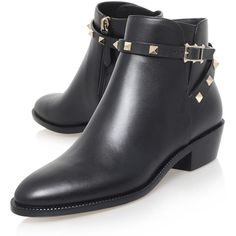 Valentino Black Leather Rockstud Ankle Boots (9,350 EGP) ❤ liked on Polyvore featuring shoes, boots, ankle booties, black ankle booties, black boots, black ankle boots, ankle boots and black booties