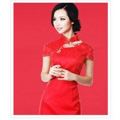 Wedding Cheongsam Brocade Red w/ Dragon Pattern Placket Handmade Chinese Buttons