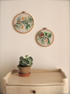 Woodland pair of vintage embroidery wall art hoops. $48.00, via Etsy.