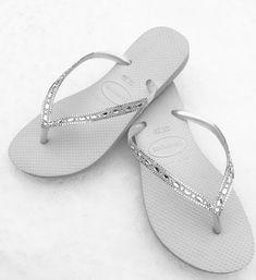 076814725742f6 Havaianas Slim White Crystal Rhinestone Beach Wedding Flip Flops Blushing  Bride Custom w  Swarovski jewels Beach Bridal Bling Reception Shoe