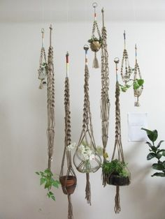 macrame plant hangers - My mom and I would take classes to learn how to make these