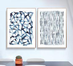 Set of 2 Prints, Abstract Art Prints, Large Wall Art, Printable Abstract Art, Navy Blue Wall Art, instant download Art, Minimal Art A1 Print by DanHobdayArt on Etsy