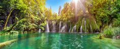 Breathtaking waterfalls panorama in Plitvice Lakes National Park, Croatia, Europe. Majestic view with turquoise water and sunset sunny beams, travel destinations background Croatia National Park, Plitvice Lakes National Park, Parc National, National Parks, Dubrovnik, Cool Places To Visit, Great Places, Paraiso Natural, Travel Sights