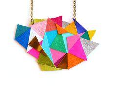 Geometric Bib Necklace Neon Color Block by BooandBooFactory, $58.00