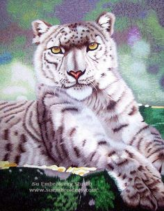 Leopard, silk hand embroidered picture, Chinese Suzhou silk embroidery art, Su Embroidery Studio
