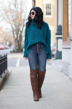 RD's Obsessions: Button-Front Jeans, high waisted jeans, button front jeans, oversized sweater, cozy knit, over the knee boots, slouchy sweater