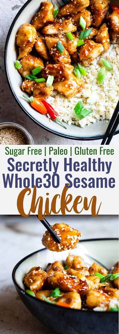 Easy Sesame Chicken - This paleo friendly, and sugar/grain/dairy and gl. Easy Sesame Chicken - This paleo friendly, and sugar/grain/dairy and gluten free CRISPY Sesame Chicken tastes Clean Eating Recipes For Dinner, Clean Eating Snacks, Healthy Eating, Paleo Dinner Quick, Dairy Free Quick Meals, Dinner Healthy, Healthy Cooking, Healthy Diet Recipes, Whole Food Recipes