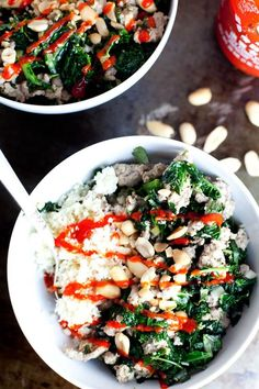 garlic ginger kale bowl with cauliflower rice