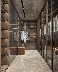 """286 Likes, 7 Comments - TE Arquitetura + Interiores (@arqthaizaev) on Instagram: """"A-PAI-XO-NEI NESSE CLOSET‼️ Portas em vidro, deixando tudo aparente. Piso e teto com o mesmo…"""""""