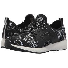 BOBS from SKECHERS Bobs Squad - Double (Black/White) Women's Lace up... (3.035 RUB) ❤ liked on Polyvore featuring shoes, lace up shoes, bobs from skechers, black and white shoes, shock absorbing shoes and black white shoes
