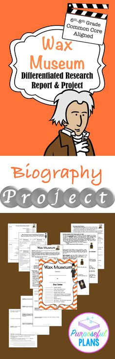 Engaging and ready-to-go project that provides excellent support to the history, writing, and literacy curriculum to engage students and motivate students for learning. Students can write a 7 paragraph research report or the graphic organizer can be used Social Studies Resources, Teaching Social Studies, Teacher Resources, Teacher Tips, Student Learning, Teacher Stuff, History Lesson Plans, History Projects, Wax Museum
