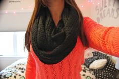 Coral sweater + black infinity scarf