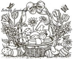 Easter Chicks & Basket Wood Mounted Rubber Stamp Northwoods Rubber Stamp New