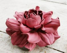 Ivory leather rose flower ring by leasstudio on Etsy