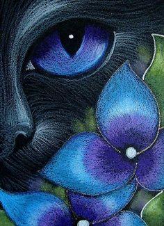 Art: BLACK CAT BEHIND HYDRANGEA FLOWERS 1 by Artist Cyra R. Cancel