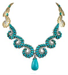 An extraordinary Boucheron necklace that dates back to the featuring a large turquoise suspending drop surrounded by swirl motifs made of marquise cabochon turquoise and diamonds, finely crafted in gold. Gold Pendant Necklace, Drop Necklace, Boucheron Jewelry, Diamond Earing, Necklace Designs, Turquoise Jewelry, Fine Jewelry, Opal Jewelry, Jewelry Necklaces