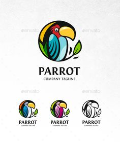 Parrot Logo: Animal Logo Design Template by Logo Design Template, Logo Templates, Logo Branding, Branding Design, Logo Ad, Logo Design Inspiration, Icon Design, Parrot Logo, Flat Logo