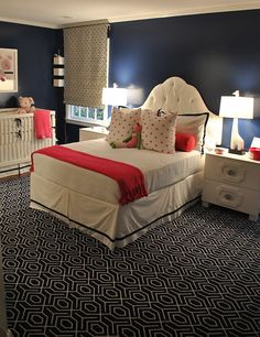 Change the pink accents to red accents or another coordinating duvet; I like the rug and wall color - need to decide what to do for Matthew's big boy room.