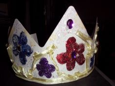 mixed media crown ,glitter, ribbon and gem stones