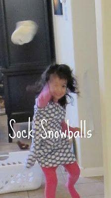 Indoor snowballs - using white socks balled up!