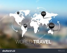 Vector Template. World Map On Blurred Nature Background. Points, Travel Concept…